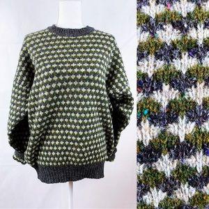Vintage 100% Shetland Wool Green Gray Pullover